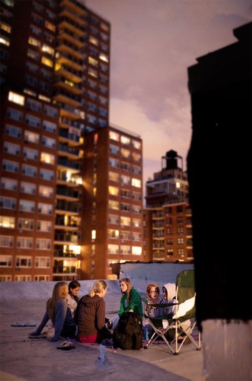 Up on Liz'z roof with the girls
