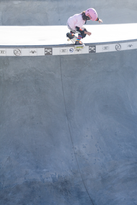 8 years old, pink helmet, 12 foot deep concrete bowl.